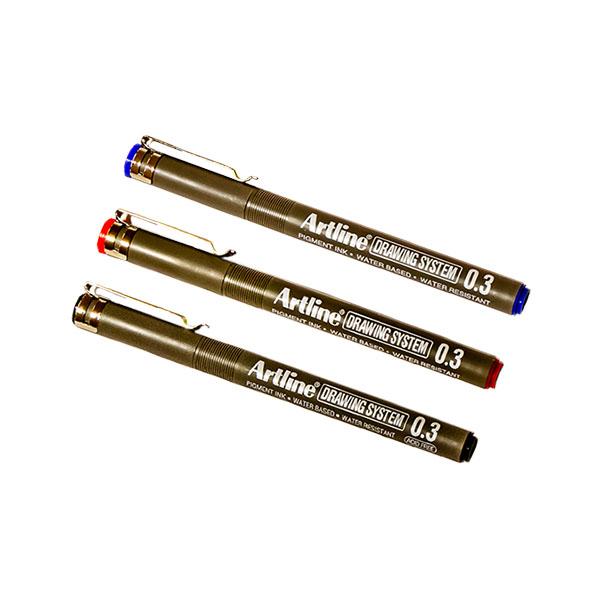 Artline Drawing teiknipenni með 0,3 mm skrifoddi.