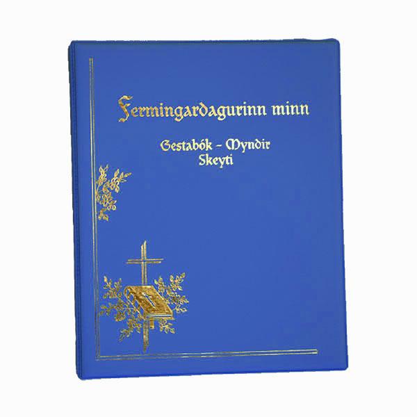 Fermingarmappa sem er gestabók, myndaalbúm og geymir einnig kort. Áletrun innifalin (nafn og fermingardagur).