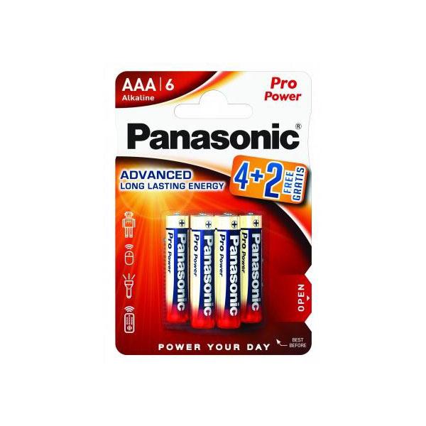 1,5V Panasonic Pro Power alkaline rafhlöður AAA. Mjög endingargóðar rafhlöður 6 stk.í pakkningu.
