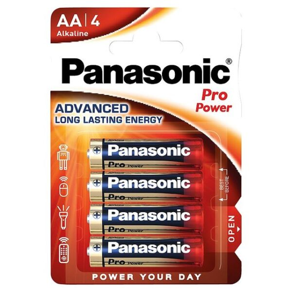 Panasonic alkaline rafhlöður, AA, 4 stk, 1,5 V.
