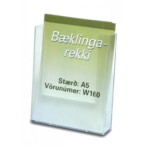 Bæklingastandur á vegg eða borð. Festingarmöguleikar fyrir vegg og standur fyrir borð.Bæklingastandur fyrir A5, einblöðunga/bæklinga að hámarki 16 cm á breidd.