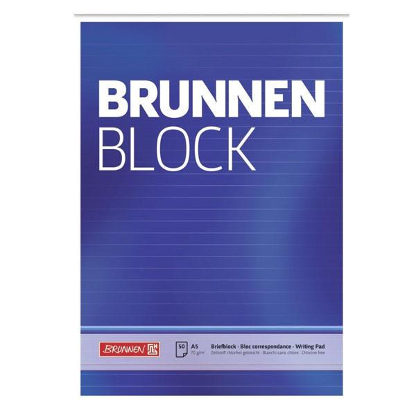 Línustrikuð skrifblokk límd á toppi, linustrikuð. 70 g/m2 pappírsþykkt. A5, 50 blaðsíður.