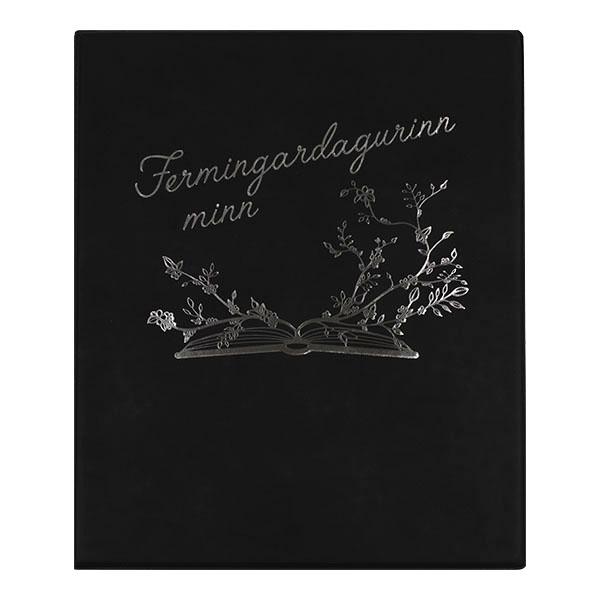 Fermingarmappa sem er gestabók, myndaalbúm og geymir einnig kort o.fl.Áletrun innifalin (nafn og fermingardagur).