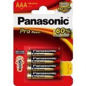 1,5V Panasonic Pro Power alkaline rafhlöður AAA. Fjórar rafhlöður í pakkningu.