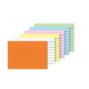 Línustrikuð minnisspjöld eða spjaldskrárkort. Litur: Appelsínugulur, blár, bleikur, grænn, gulur, hvítur,