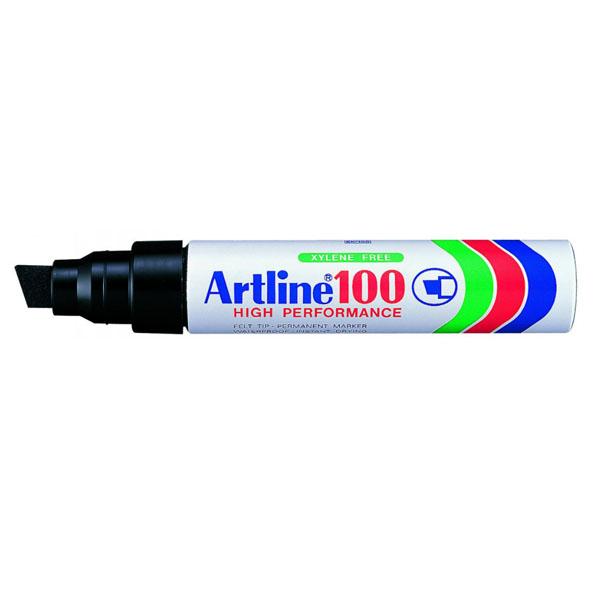 Artline 100 er vatnsþolinn merkitússpenni. Hentar t.d. á pappa, plast, gler, járn og gúmmí. Skáskorinn oddur. 7,5 - 12 mm skrifbreidd.