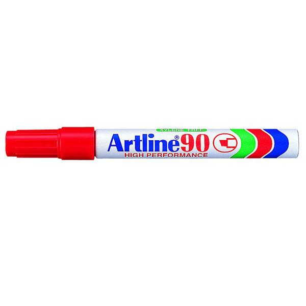 Artline 90 er vatnsþolinn merkitússpenni. Hentar t.d. á pappa, plast, gler, járn og gúmmí. Skáskorinn oddur. 2 - 5 mm skrifbreidd. Grannur bolur.