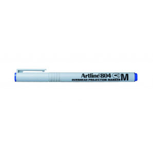 Artline 804 Medium glærupenni. Vatnsleysanlegur,1,0 mm skriftarlína. Blár.
