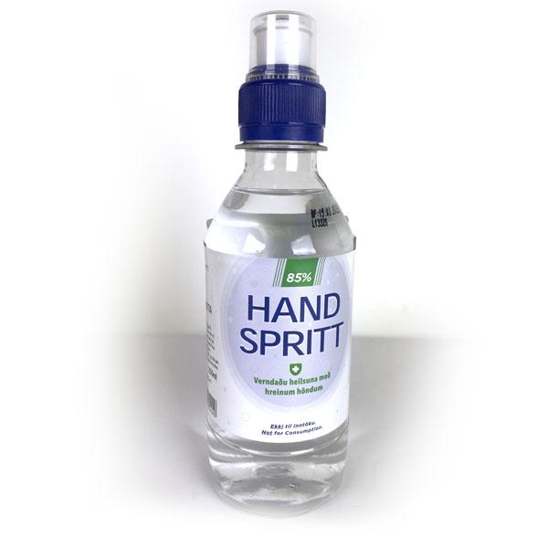 250 ml af sótthreinsispritti, handspritt 85%.