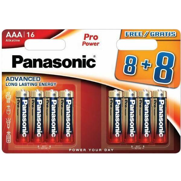 1,5V Panasonic Pro Power alkaline AAA rafhlöður 16 stk í pakkningu.