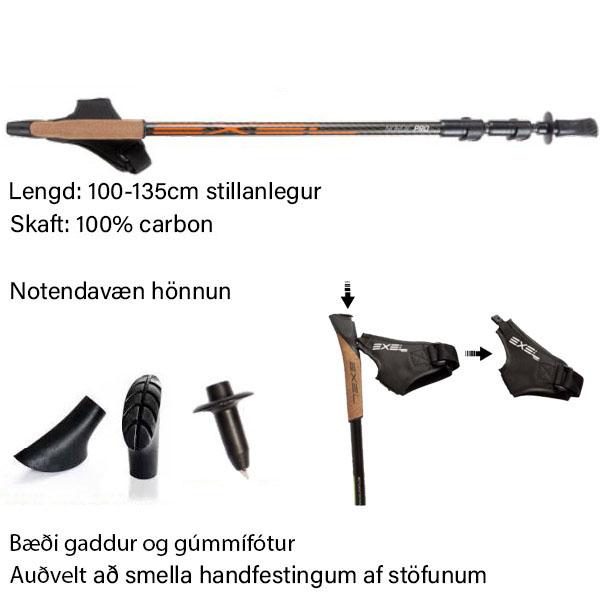 Lengd Nordic Pro Exel göngustafa má stilla frá 100 cm að 130 cm.