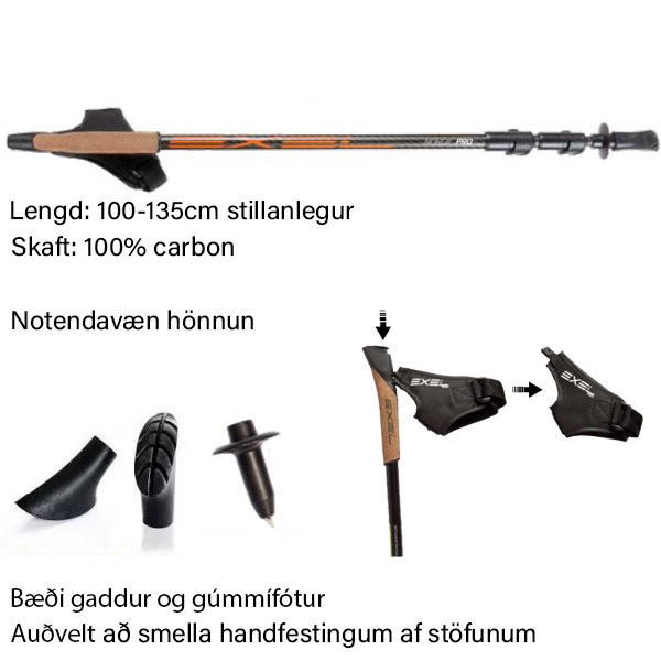Nordic Pro stillanlegir göngustafir.
