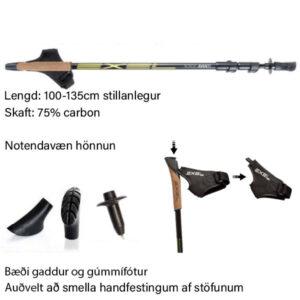 Lengd Avanti göngustafa má stilla frá 100 cm að 135 cm.